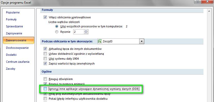 Ignoruj aplikacje - Excel 2007