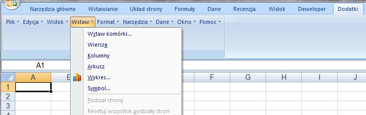 Stare Menu w Excelu